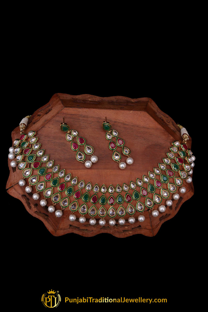 Green Red Pearl Kundan Necklace Set By Punjabi Traditional Jewellery