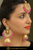 Iftin Gold Finished Pearl Pink Jhumki Kundan Earring Tikka Set | Punjabi Traditional Jewellery Exclusive