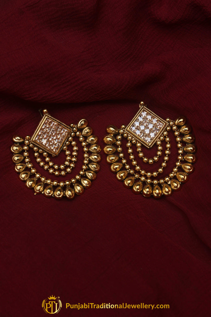 Champange Stone Earrings By Punjabi Traditional Jewellery