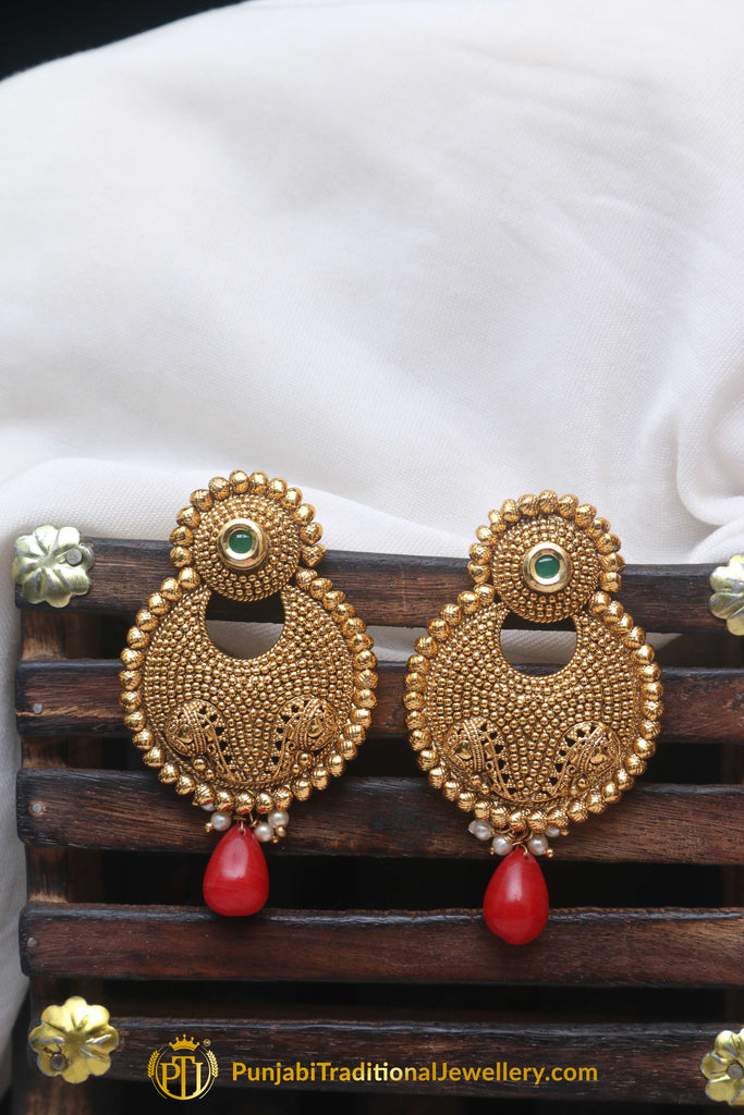 Red Pearl Antique Gold Earrings By Punjabi Traditional Jewellery