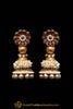 Green Red Antique Gold Pearl Polki Earrings By Punjabi Traditional Jewellery