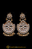 Golden Kundan Earrings By Punjabi Traditional Jewellery