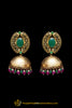 Pink Green Jhumki Gold Plated Earrings By Punjabi Traditional Jewellery