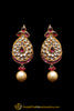 Purple Kundan Pearl Earrings By Punjabi Traditional Jewellery