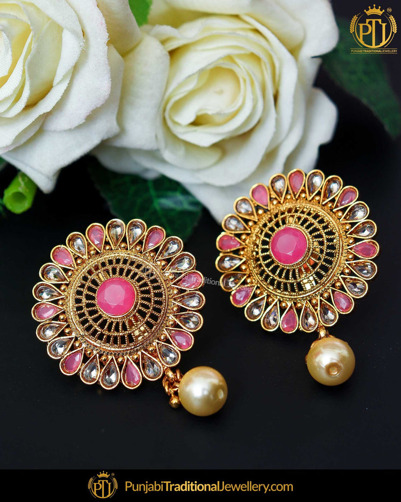 Gold Finished Pink Chamapgne Stone Stud Earrings | Punjabi Traditional Jewellery Exclusive