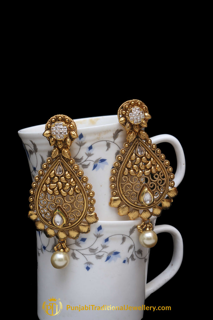 Pearl Antique Gold Earrings By Punjabi Traditional Jewellery
