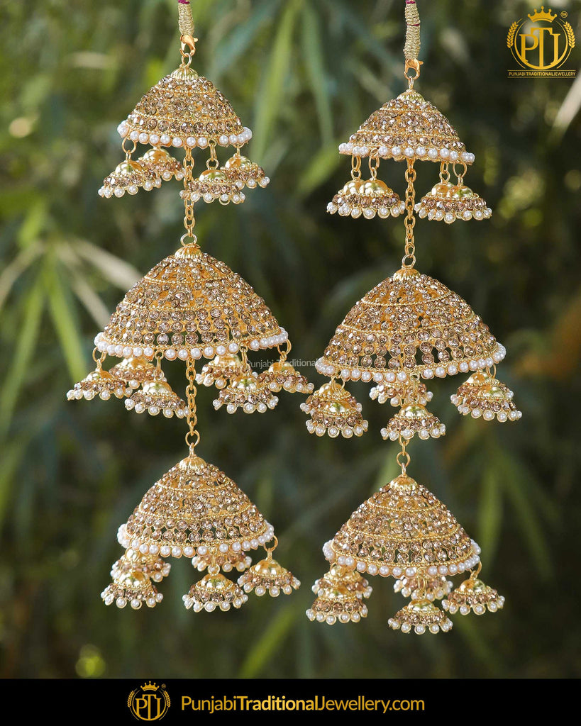 Gold Finished Champagne Stone Pearl Bridal Kalira | Punjabi Traditional Jewellery Exclusive