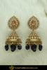 Gold Finished Blue Jhumki Champagne Stone Earrings | Punjabi Traditional Jewellery Exclusive