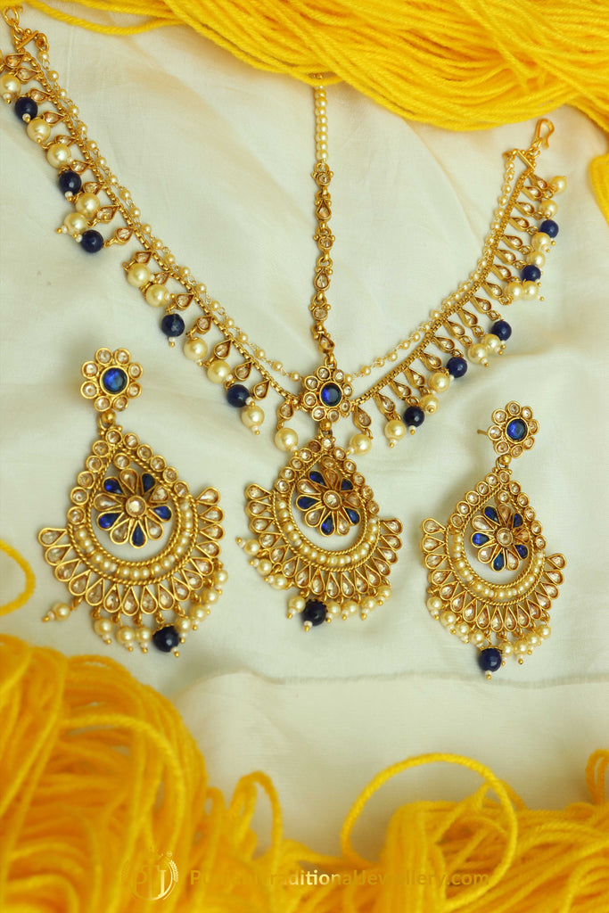 Blue Polki Matha Patti Earrings By Punjabi Traditional Jewellery