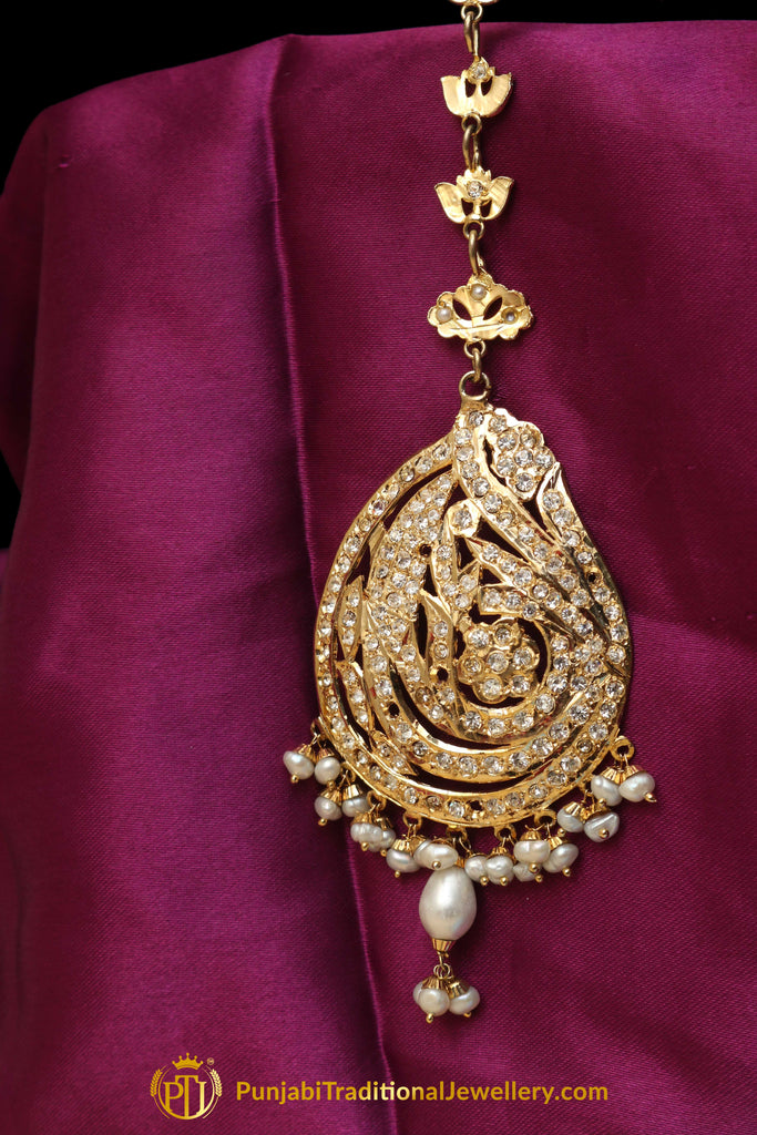 Golden Jadau Tikka By Punjabi Traditional Jewellery