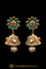 Green Antique Gold, Jhumki & Polki Earrings By Punjabi Traditional Jewellery