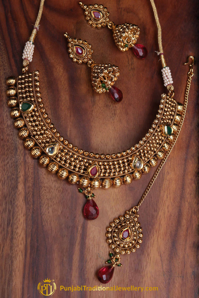 Noor Maroon & Green Antique Gold Polki Necklace Set By Punjabi Traditional Jewellery