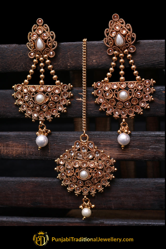 Champagne Stone Earring Tikka Set By Punjabi Traditional Jewellery