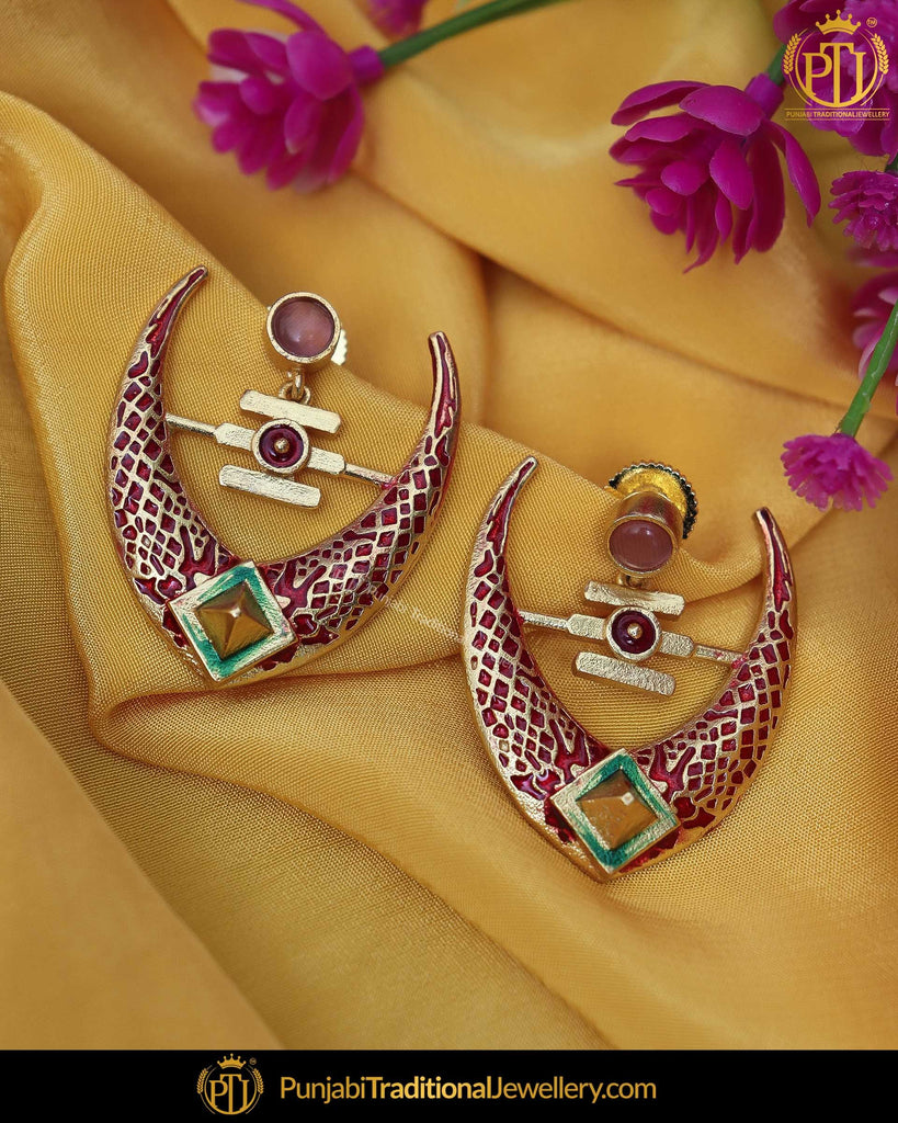 Hand Painted Rubby Meena Green Chand Earrings | Punjabi Traditional Jewellery Exclusive