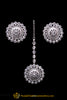 Silver Kundan Pearl Earring Tikka Set By Punjabi Traditional Jewellery