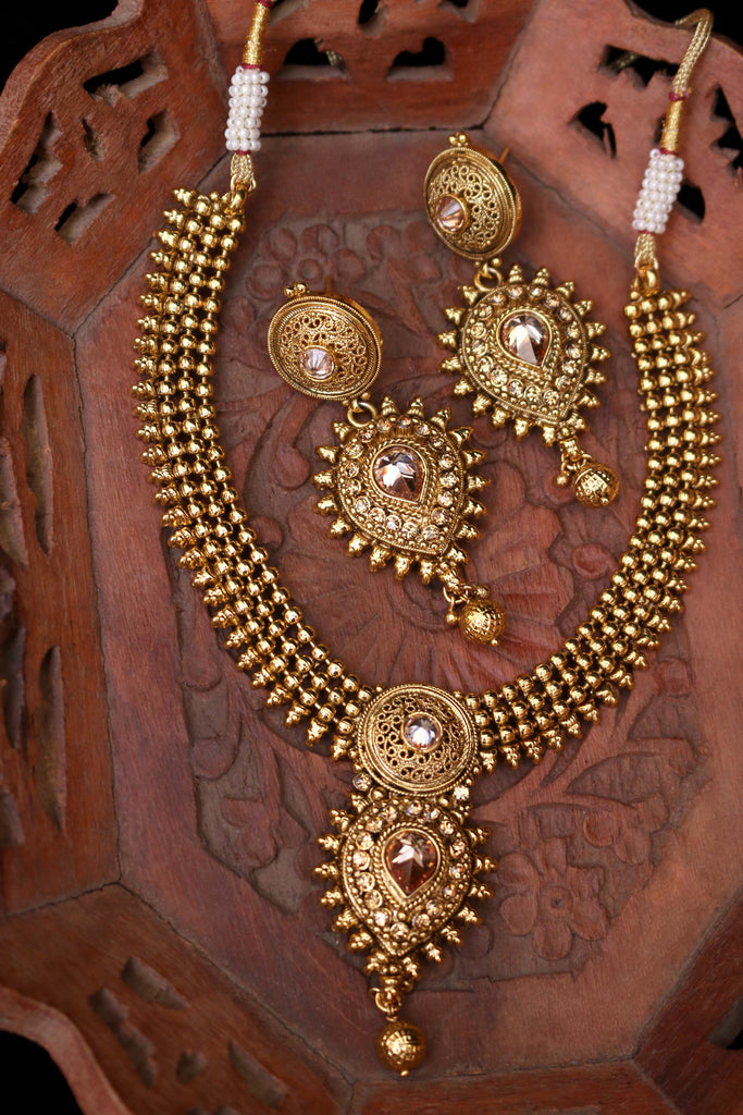 Paradise Antique Gold Polki Necklace Set By Punjabi Traditional Jewellery