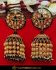 Gold Finished Chamapgne Stone Black Jhumki Earrings | Punjabi Traditional Jewellery Exclusive