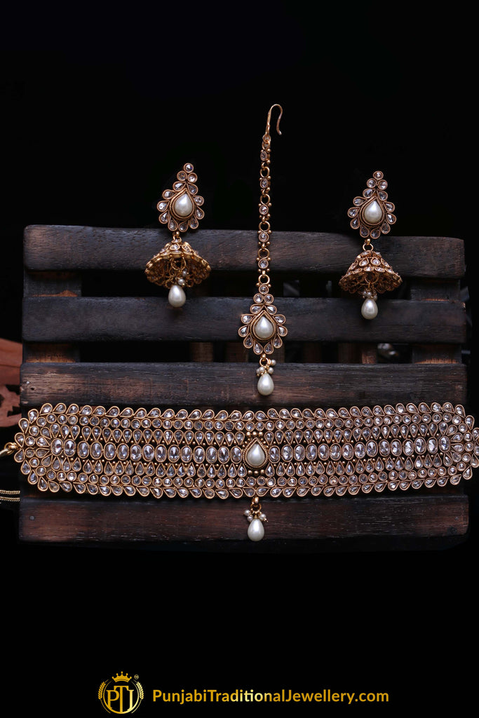 Qasid Polki Choker Necklace Set By Punjabi Traditional Jewellery