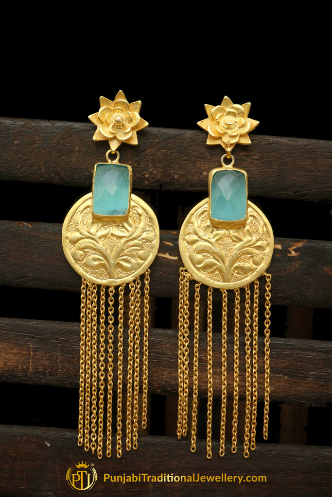 Antique Gold & Firoza Stone Earrings By Punjabi Traditional Jewellery