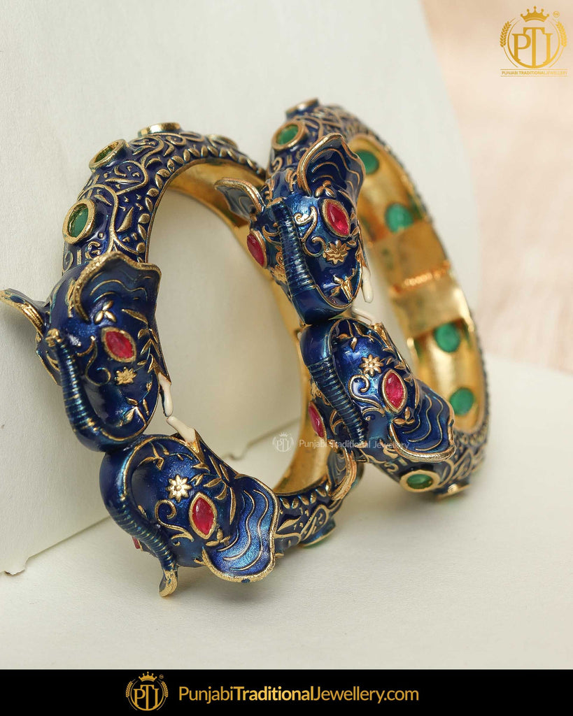 Hand Painted Blue Menna Emerald Polki Karra Bangles (Pair)| Punjabi Traditional Jewellery Exclusive