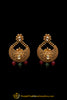 Green & Red Antique Gold Polki Earrings By Punjabi Traditional Jewellery