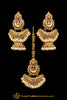 Antique Gold Champagne Stone Pearl Earring Tikka Set By Punjabi Traditional Jewellery