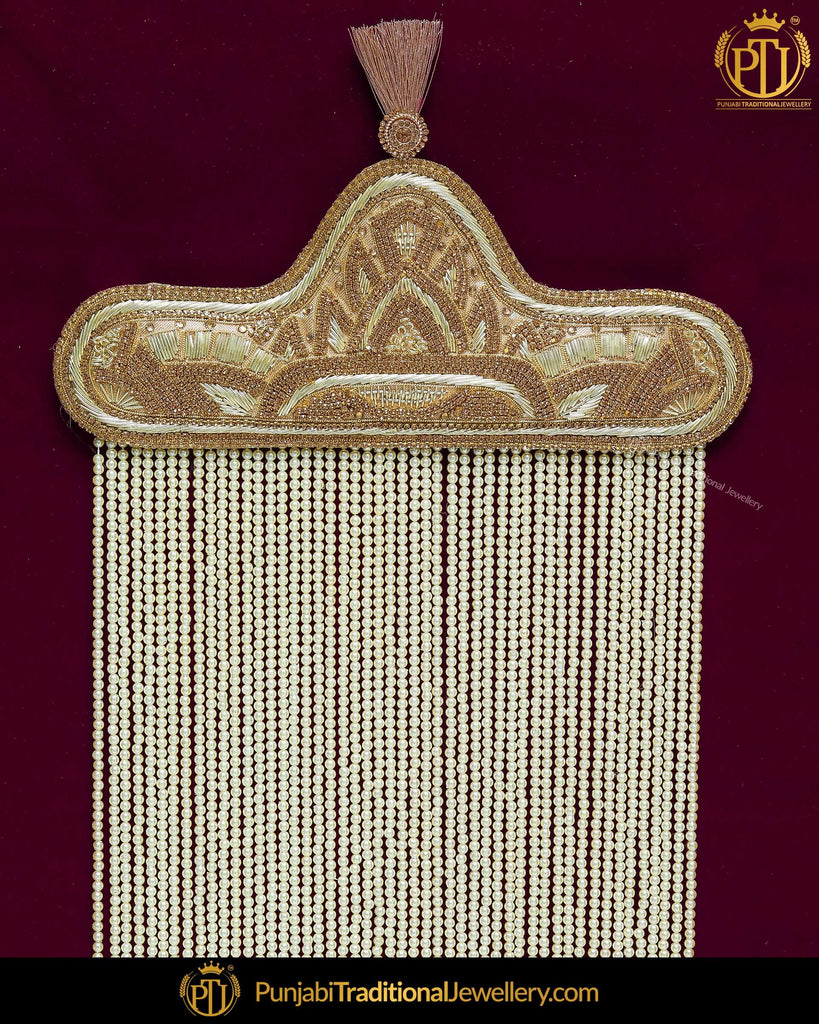 Golden Jercon Pearl Groom Sehra | Punjabi Traditional Jewllery Exclusive