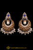 Blue Pearl, Polki & Antique Gold Earrings By Punjabi Traditional Jewellery