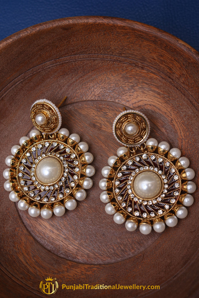 Red Meena Pearl Earrings By Punjabi Traditional Jewellery