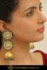Hujaymah Gold Finished Pearl Emerald Jhumki Earrings | Punjabi Traditional Jewellery Exclusive
