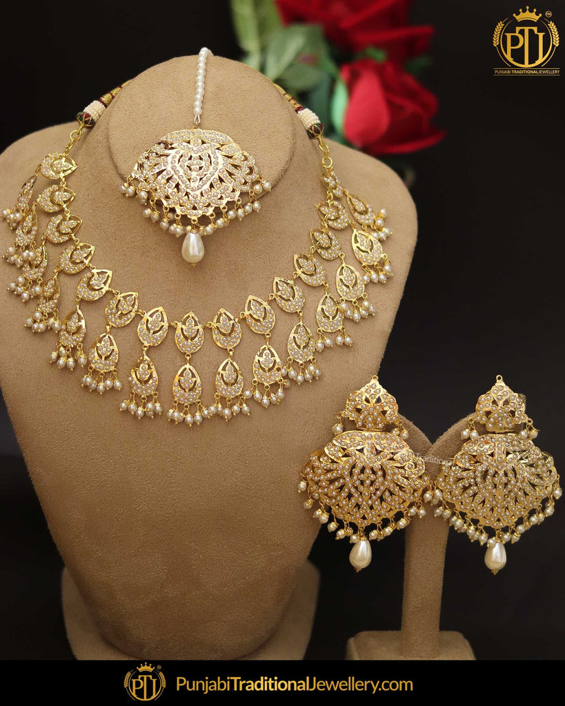 Gold Finished Jadau Pearl Necklace Set | Punjabi Traditional Jewellery Exclusive