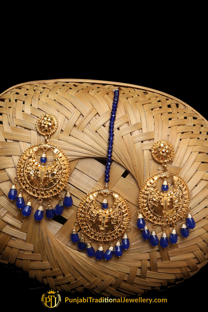 Aara Blue Gold Plated Pearl Earring Tikka Set By Punjabi Traditional Jewellery