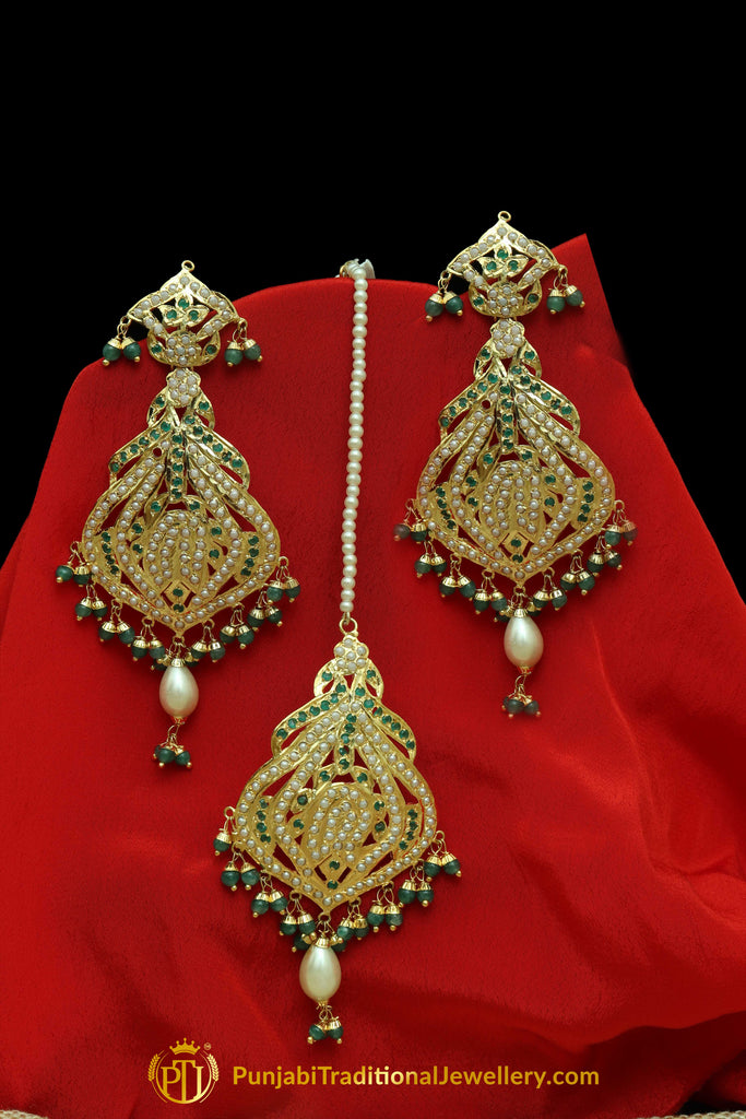 Green Jadau Pearl Earring Tikka Set By Punjabi Traditional Jewellery