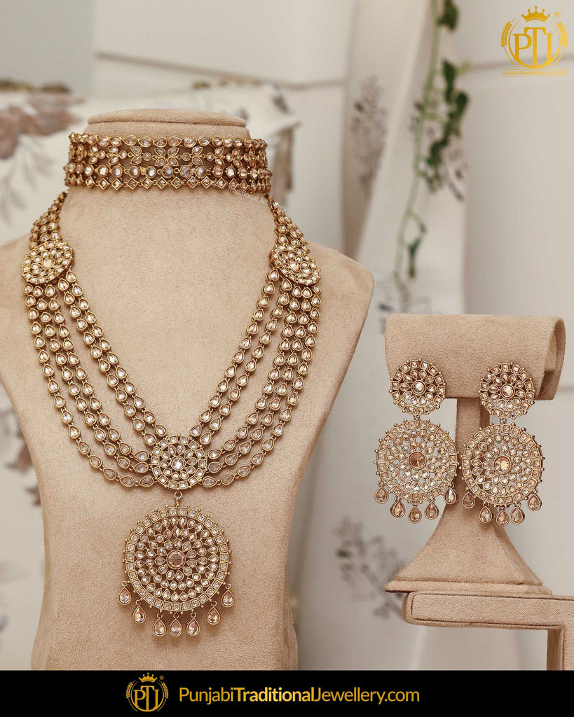 Gold Finished Champagne Choker & Earrings Only| Punjabi Traditional Jewellery Exclusive