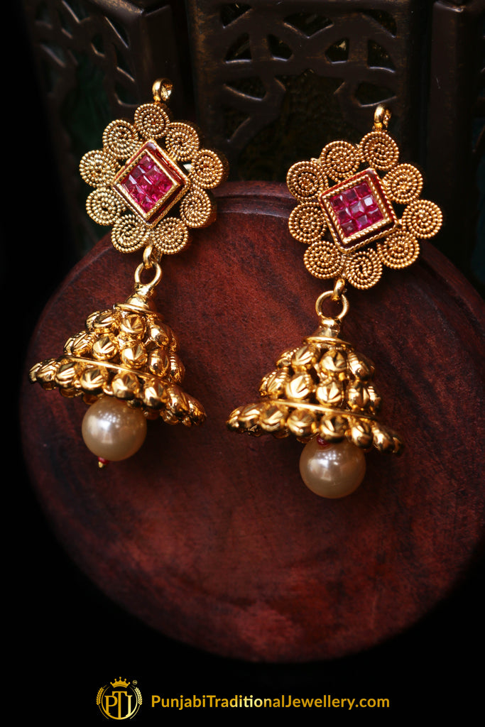 Maroon Antique Gold, Jhumki & Polki Earrings By Punjabi Traditional Jewellery