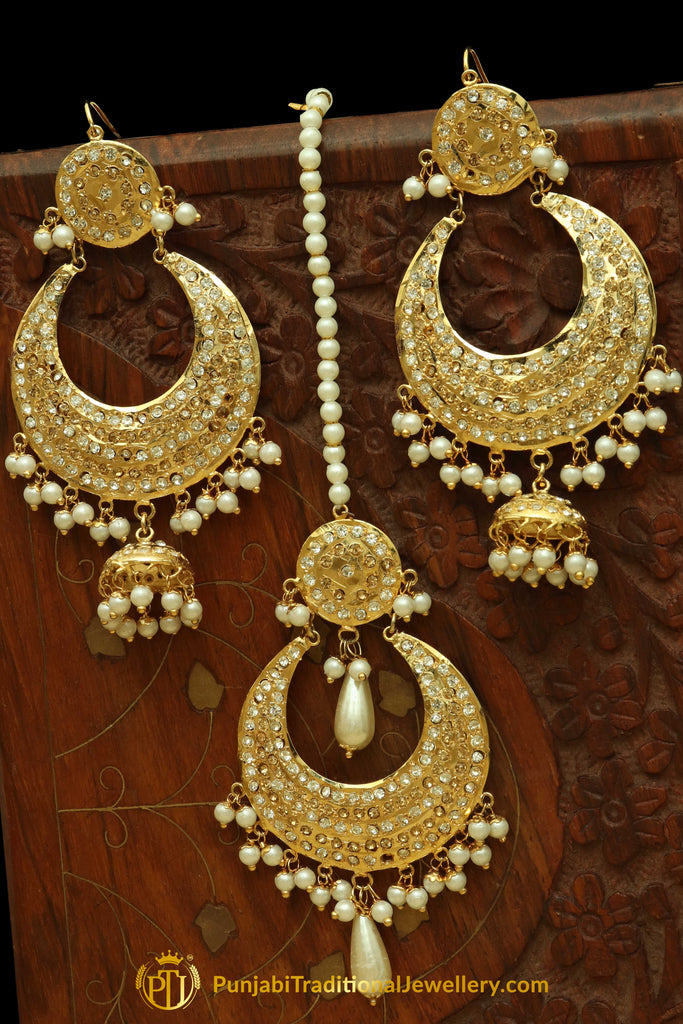 Golden Jadau Pearl Earring Tikka Set By Punjabi Traditional Jewellery