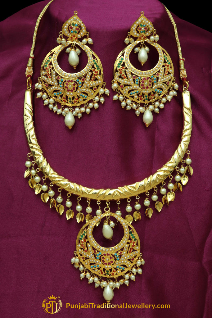 Haniyah Navratan Pippal Patti Hasli Necklace, Tikka & Earrings | Punjabi Traditional Jewellery Exclusive