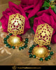 Gold Finished Emerald Jhumki Pearl Earrings | Punjabi Traditional Jewellery Exclusive