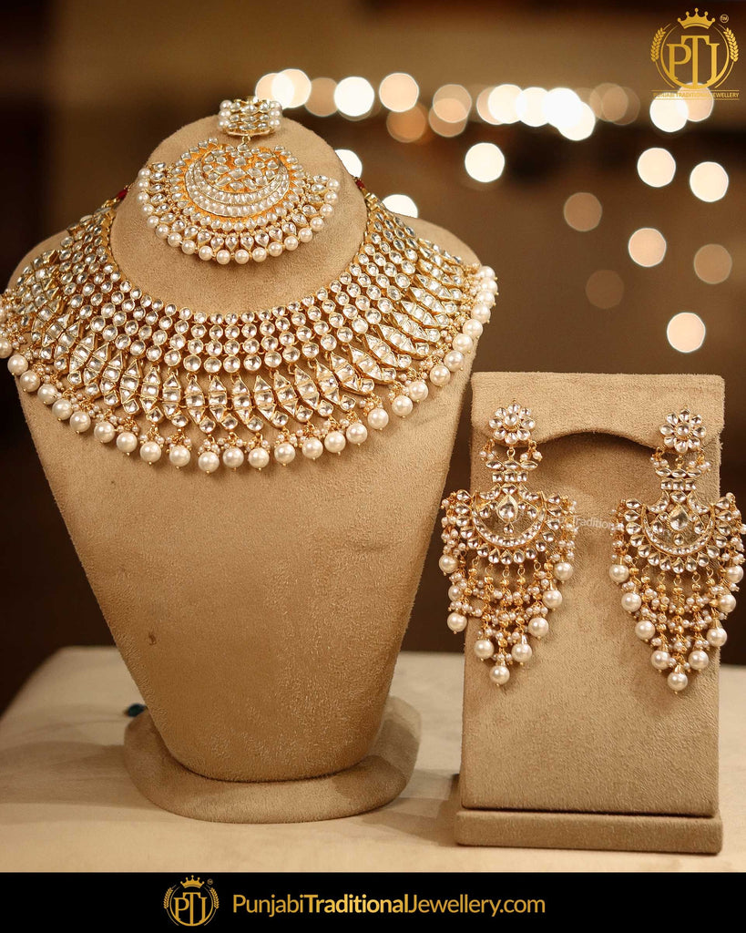 Gold Finished Kundan Pearl Necklace Set | Punjabi Traditional Jewellery Exclusive