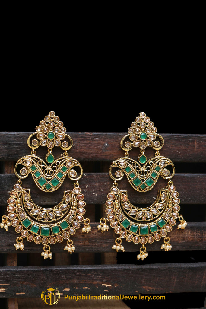 Green Champagne Stone Earrings By Punjabi Traditional Jewellery
