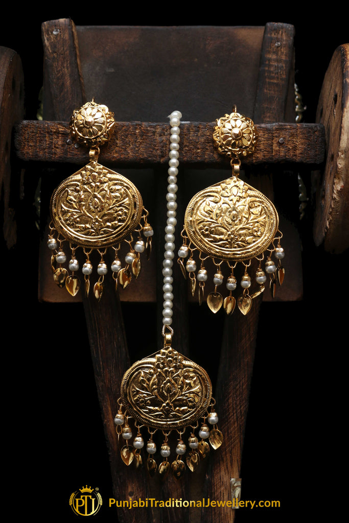 Golden Pippal Patti Earring Tikka Set By Punjabi Traditional Jewellery