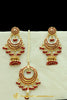 Red Jadau Pearl Earring Tikka Set By Punjabi Traditional Jewellery