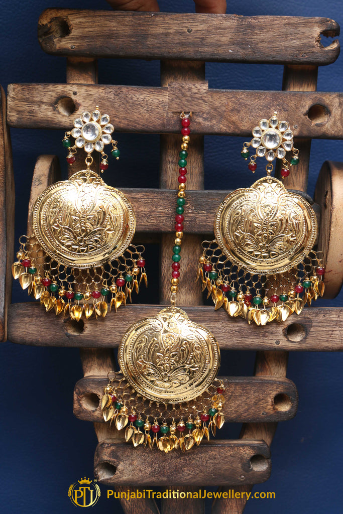 Red Green Pippal Patti Earring Tikka Set By Punjabi Traditional Jewellery