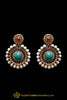 Red & Green Pearl With Polki Earrings By Punjabi Traditional Jewellery