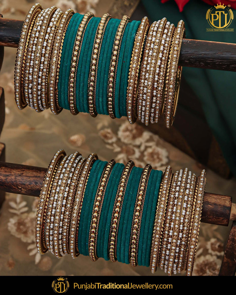 Antique Gold Pearl Bangles Set For Both Hands | Punjabi Traditional Jewellery Exclusive