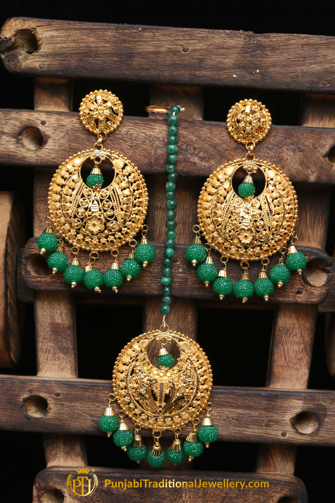 Antique Gold Green  Earring Tikka Set By Punjabi Traditional Jewellery