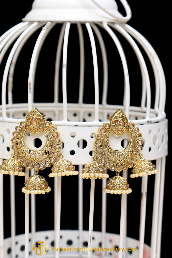 Golden Champagne Stone Polki Earrings By Punjabi Traditional Jewellery