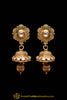 Golden Antique Gold Jhumki Pearl Earrings By Punjabi Traditional Jewellery