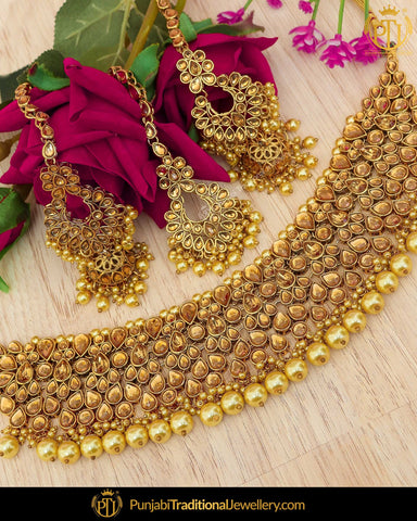 d2a05ae176 Antique Gold Finished Kundan Necklace Set | Punjabi Traditional Jewellery  Exclusive. Rs. 6,000