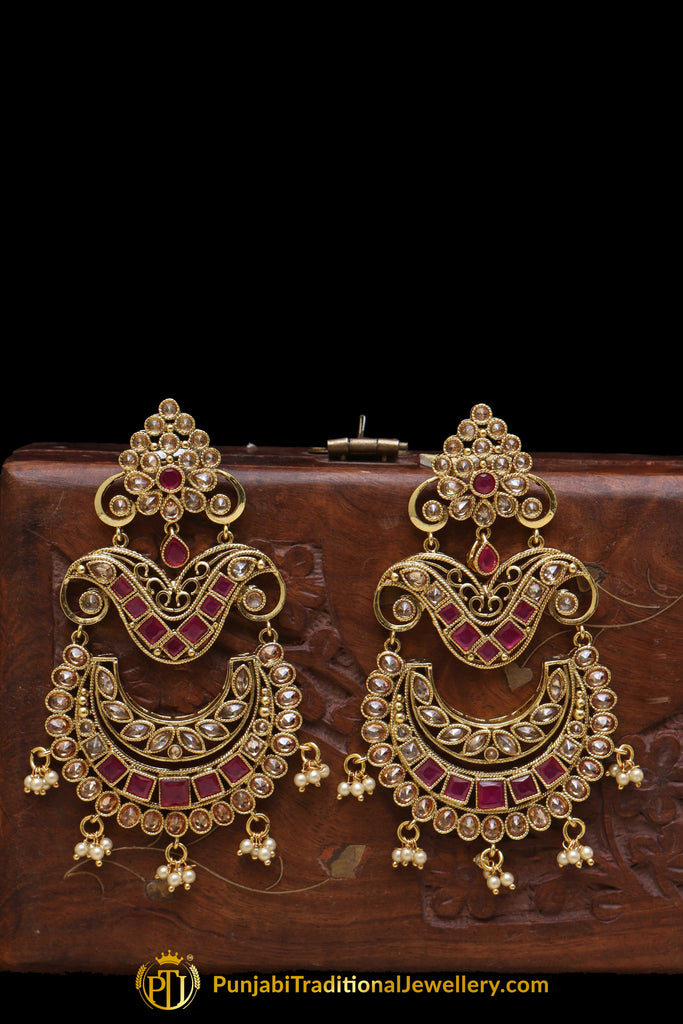 Maroon Polki Champagne Stone Earrings By Punjabi Traditional Jewellery